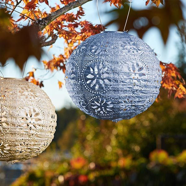 31836 Soji Stella Solar Lantern - Boho - Metallic Blue - Round