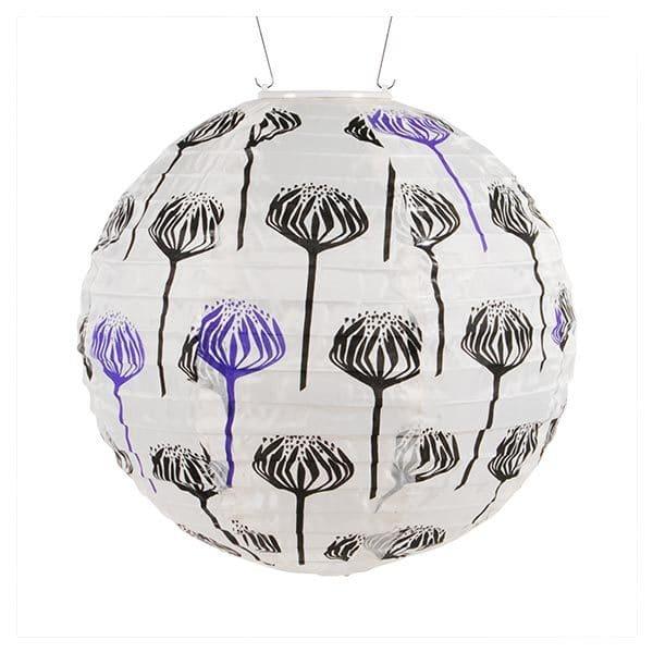 31838 Soji Printed Black & White Artichoke Solar Lantern - Round