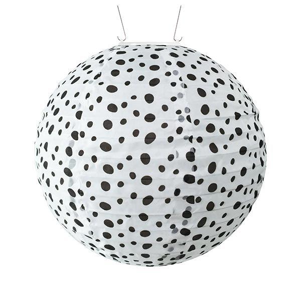 31837 Soji Printed Black & White Micro Dot Solar Lantern - Round