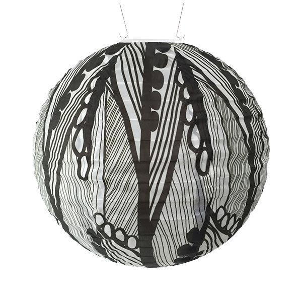 31792 Soji Printed Black & White Seed Leaf Solar Lantern - Round