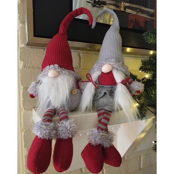 2 Asst Long Legs Mr/Mrs Santa Gnome