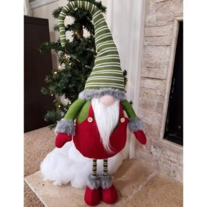 Lg Red/Green Standing Plush Gnome Santa