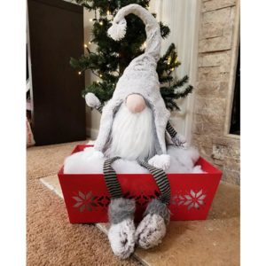 Lg Grey Fur Gnome w/Dangle Leg