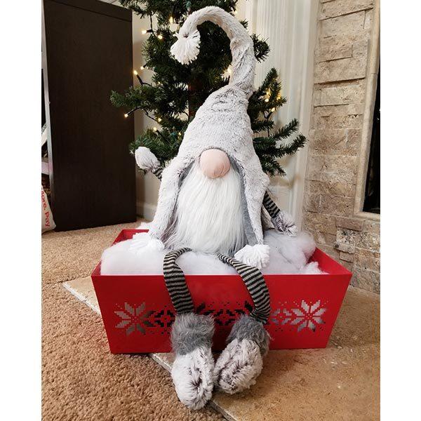 Lg Grey Fur Gnome w/Dangle Leg